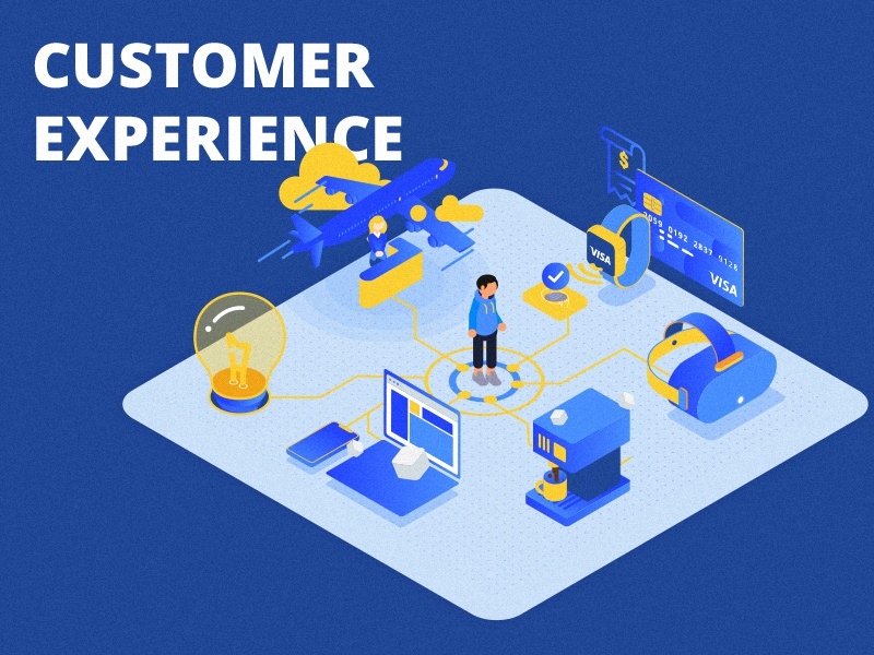 Customer Experience blue texture colors experience user customer inspiration 3d gradient vector illustration people