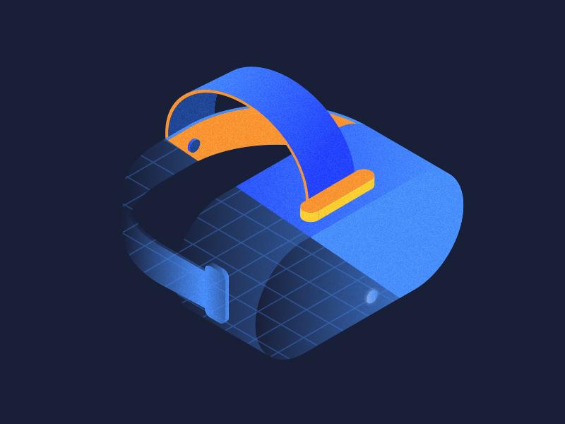 Reimagine Reality minimal gradient blue development experiment strategy tech colors vr illustration