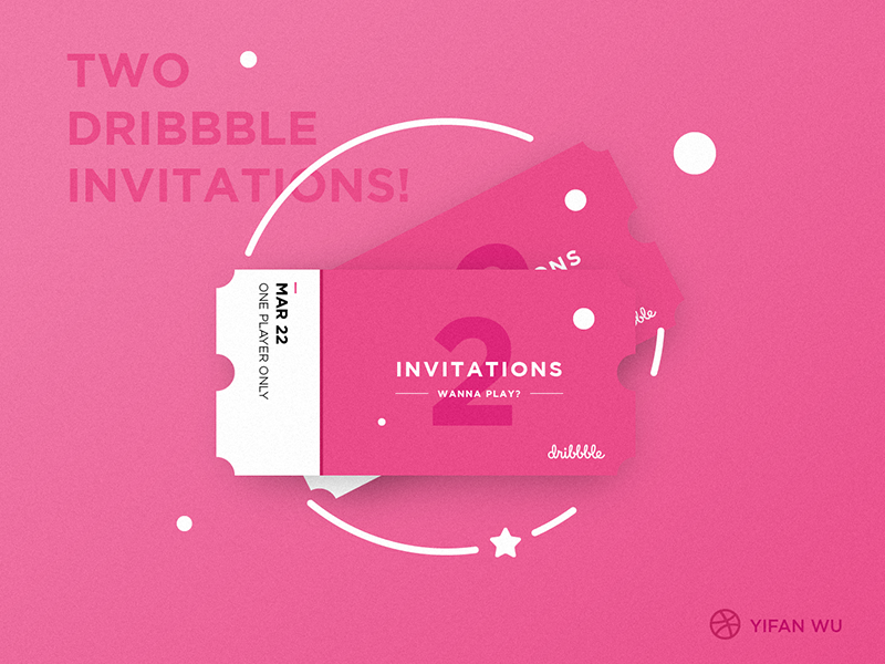 Wanna play? gradients colors depth pink flat illustrations invite draft hello dribbble invitation