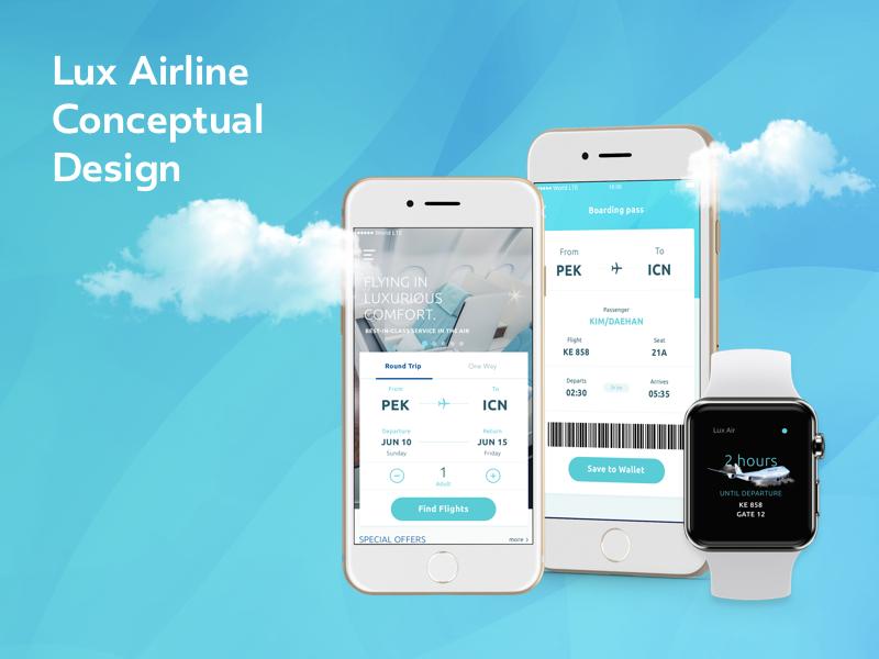 Lux Airline Concept concept app airlines design uiux