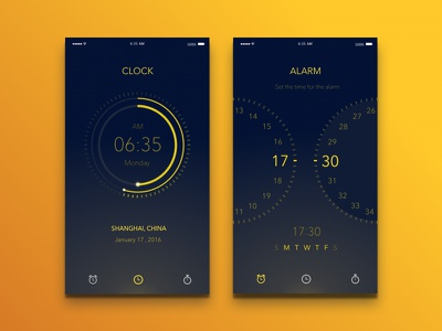 Clock & Alarm app app iphone ios watch ui alarm clock