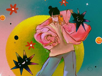 Star girl cool girl illustration girl circle fanart outfit jacket stars clothes illustration art photoshop procreate illustrations flower illustration