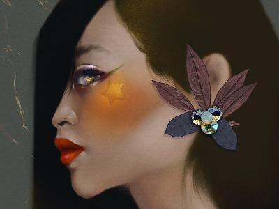 Study. leaf lips eyes green orange texture flower illustration girl human nature star