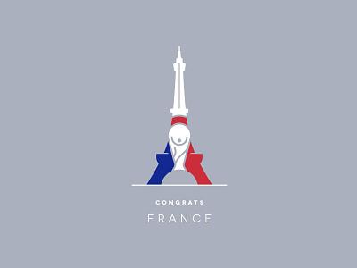 Congrats France! sports futbol soccer paris mark logo design icon winner world cup tower eiffel tower france