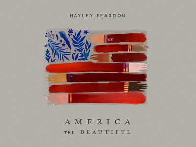 America the beautiful. concept red woman texture equal cover illustration flower hands arms flag usa