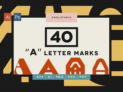 "40 ""A"" Letter Marks for custom logos. logotype minimal brand design creative market a branding letter typography type logo font"