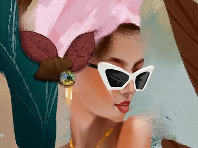 Summer vibes. portrait leaf glasses summer green orange texture flower illustration girl human nature