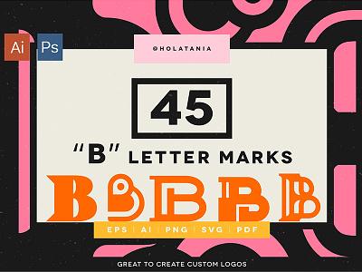 """45 """"B"""" Letter Marks for custom logos. font logo type typography letter branding a creative market design brand minimal logotype"""