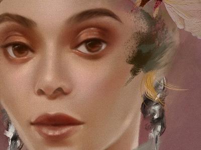 Beyonce Study woman human girl illustration beyonce texture skin pink portrait lips eyes