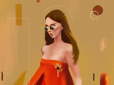 Color practice. earthy geometric woman hair dress flower composition background texture procreate girl portrait