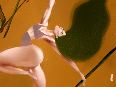 What makes you feel free? ballet concept art autumn hair body tania orozco holatania procreate line human flower nature texture girl illustration