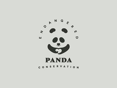 Endangered Panda Conservation Logo. hola tania tania orozco holatania clever logo smart creative heart nature minimal mark icon logo a day logo animal dailylogochallange daily challange endangered environmental conservation endangered panda conservation panda