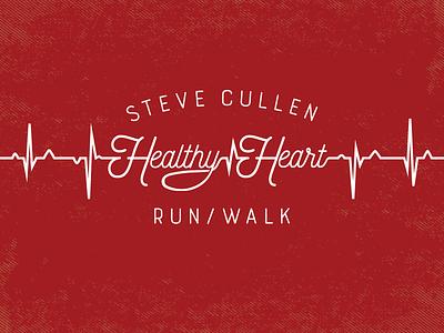 Healthy Heart Run Concept - EKG Logo typography type branding marathon illustration art handletter exercise run brand logo design