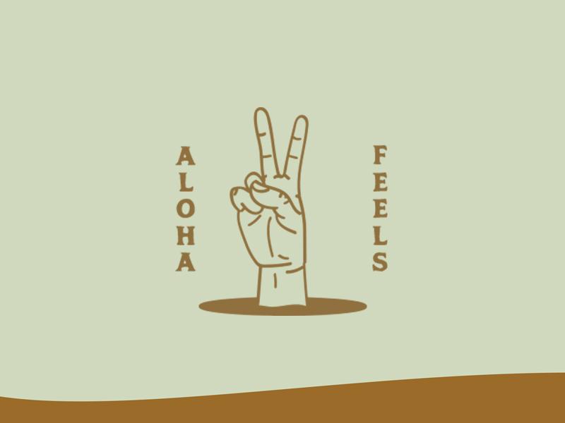 Aloha Feels surfer surf sand design art logo illustration beach hawaii aloha