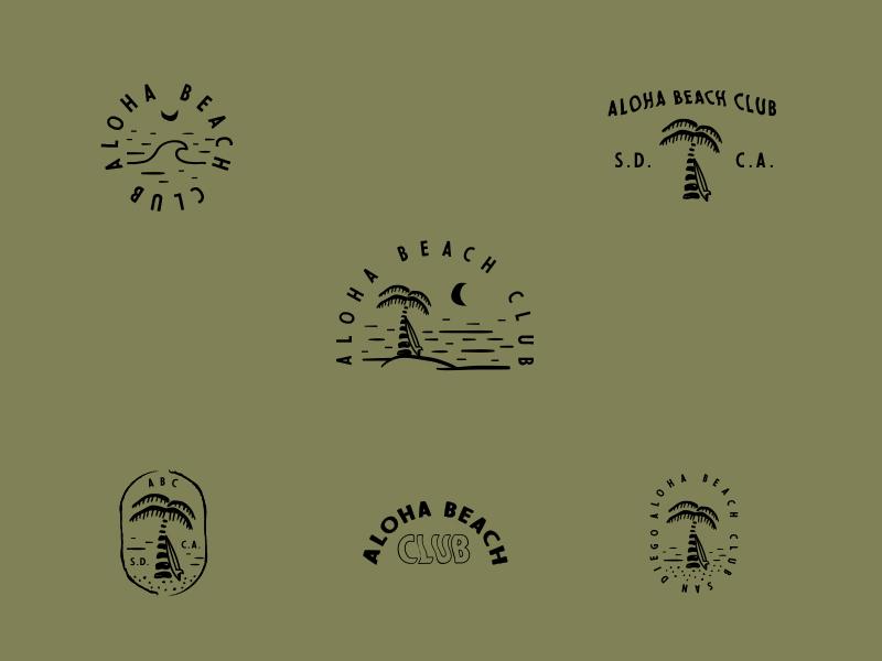 Aloha Beach Club doodles palm tree wave sand local hawaii surfing surfer surf beach aloha