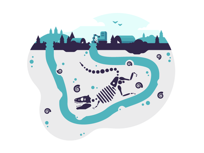 Dino Dig fossil hole underground skeleton dig dinosaur illustration