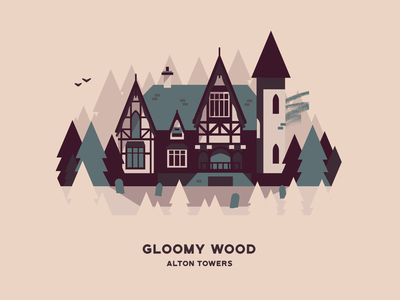 Gloomy Wood haunted house attraction theme park vector house building landscape illustration gloomy wood alton towers