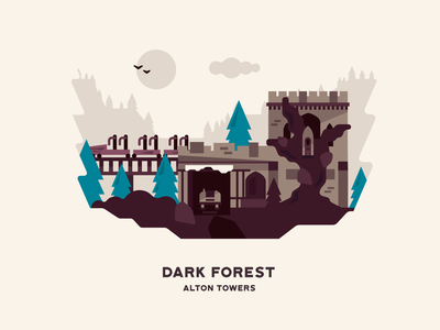 Dark Forest roller coaster attraction flat building landscape illustration theme park alton towers dark forest
