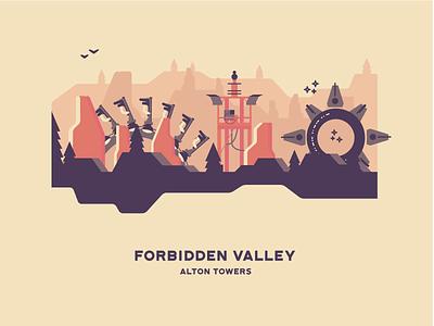 Forbidden Valley vector landscape illustration roller coaster amusement park attraction theme park alton towers forbidden valley
