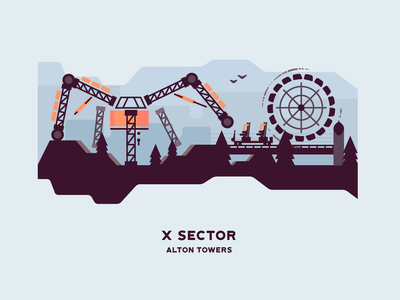 X Sector vector illustration attraction theme parks structure landscape flat roller coaster alton towers theme park x sector