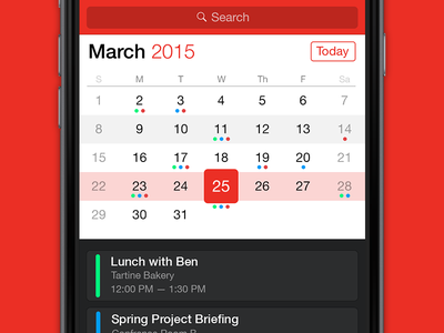 Calendar app calendar ios app watch ui apple