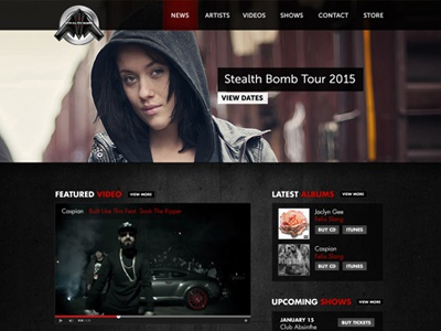 Stealthbomb Records Website design web