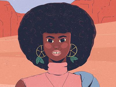 Girl #2 earrings afro facetober challenge character design mountains lemons character illustration
