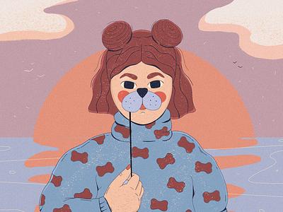 Dog lover mask sun snacks pattern dog lover dog character illustration