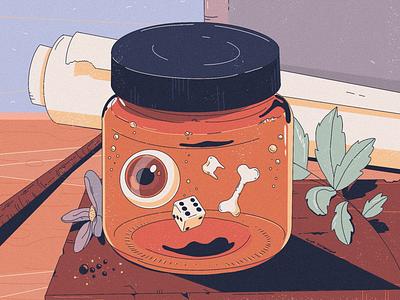 Jar tooth eye bone halloween jar peachtober illustration
