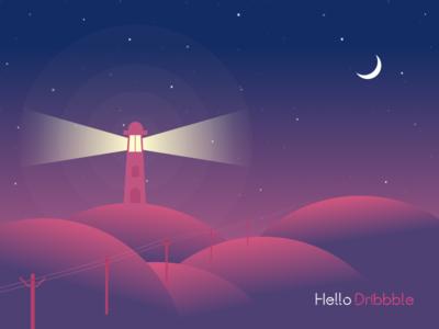 Hello Dribbble moon flat night hello dribbble illustration first shot debut