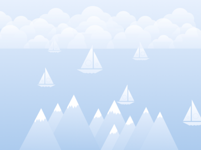 Winter Scape flat minimal boats mountain illustration gradient cool colours landscape winter awesome