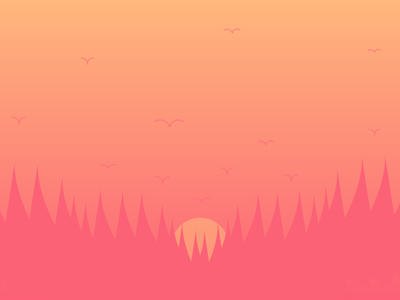 Sunset beauty birds sunset trees landscape illustration gradient flat cool colours boats awesome