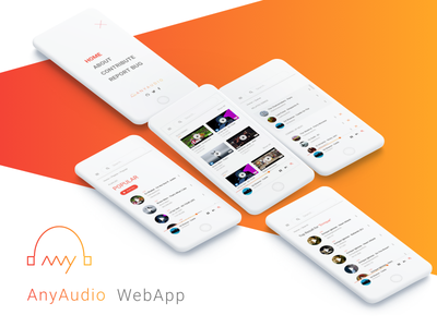 AnyAudio WebApp Mobile View music music player app vibrant anyaudio mockup mobile