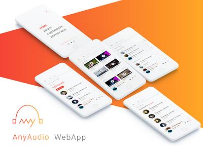 AnyAudio WebApp Mobile View music music player app vibrant anyaudio mockup mobile