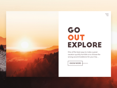 Travel Site Concept hero section landing ux ui website split-screen