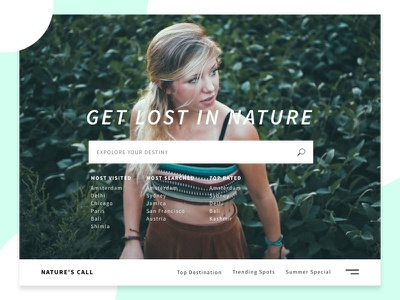 Travel Site Concept typography girl travel website ux ui landing section hero