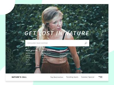 Travel Site Concept typography girl travel website ux ui landing section hero