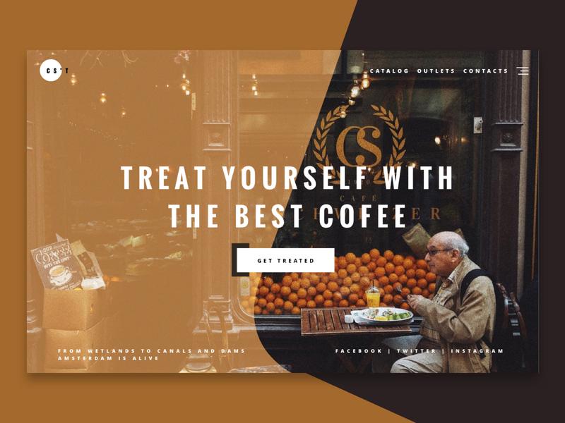 CoffeeShop Landing Concept website hero banner hero improve typography landing page ux ui