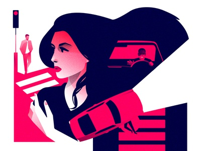 MORS crosswalk pink crash car illustrator