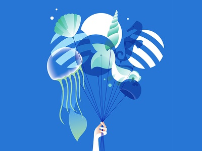 Greeting card for my friend's HB hand ballon sea blue fish illustration vector
