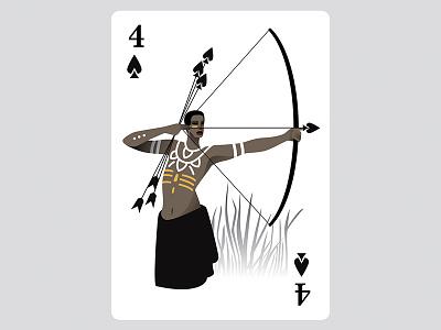 4 of spades archery illustration cards black art africa