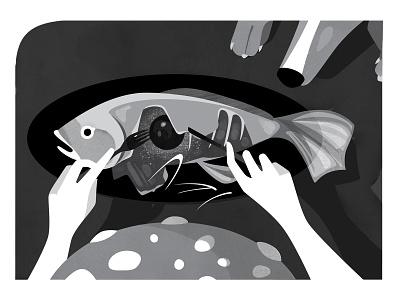 Inktober_2018 SPELL spell vector art vector fish black  white inktober inktober2018