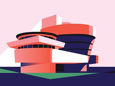 Solomon R. Guggenheim vector art vector museum architechture modern pink