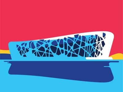 Beijing National Stadium android vector art vector blue red modern architechture