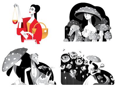 2018 inktober2018 illustration red black vector art art vector