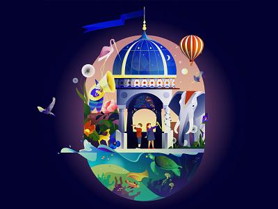 Marusia for kids kids fairytale voice assistant design vector illustration