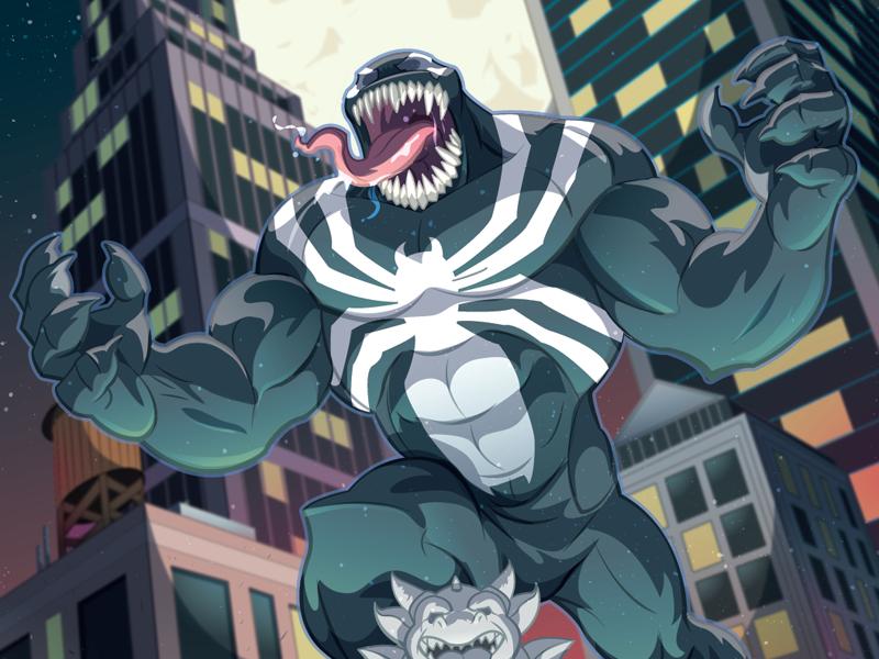 I eat your face!!! vector art comicart vector vectorart mcu marvelcomics marvel symbiote spiderman venom