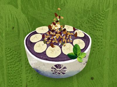 Açaí Bowl hawaii berry breakfast fruit banana inspiration 2d brazil palms jungle illustration açaí