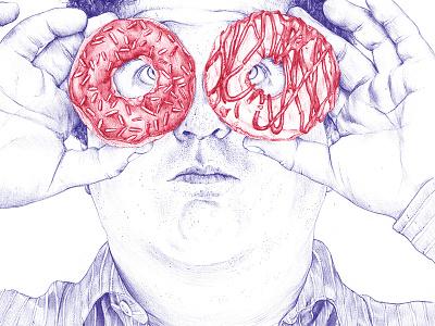 Sweet Horizons editorial hand drown binocular portrait fast food freehand illustration inspiration pen bic donut ballpoint