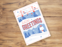 GitHub Holiday Card design illustration flat card lettering hand greetings seasons holiday